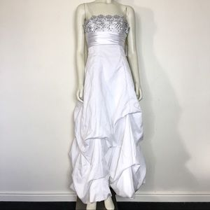 Dresses & Skirts - White Satin Gown Silver Sequin Corset Wedding 5/6